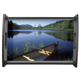 A canoe rests on the shore of Little Long Pond Serving Tray