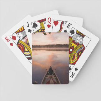 A canoe rests on the shore of Pawtuckaway Lake Playing Cards