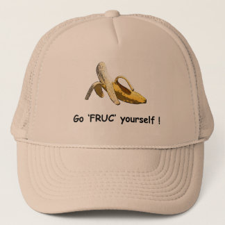 A cap with a banana and slogan