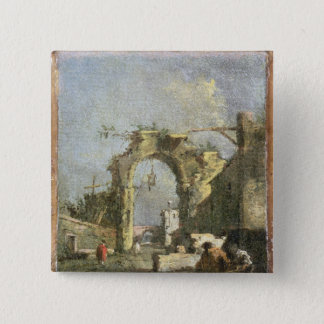 A Capriccio - Ruins, 18th century 15 Cm Square Badge
