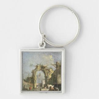 A Capriccio - Ruins, 18th century Silver-Colored Square Key Ring