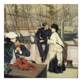 A Captain and First Mate Entertaining the Ladies 13 Cm X 13 Cm Square Invitation Card