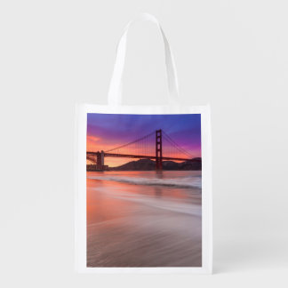 A capture of San Francisco's Golden Gate Bridge Reusable Grocery Bag