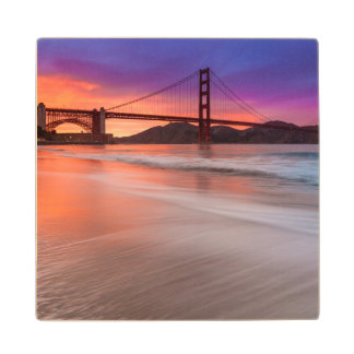 A capture of San Francisco's Golden Gate Bridge Wood Coaster