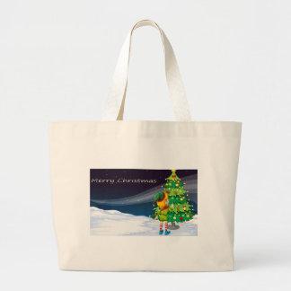 A card with an elf facing the christmas tree jumbo tote bag