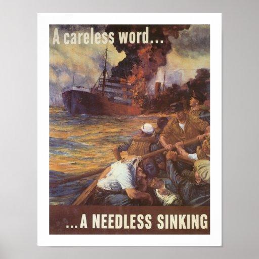 A Careless Word...A Needless Sinking Poster