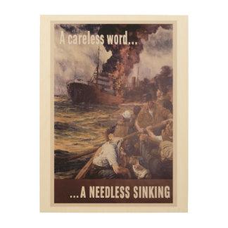 A CARELESS WORD - A NEEDLESS SINKING WOOD PRINT