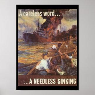 A Careless Word World War 2 Poster