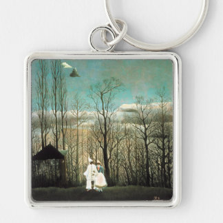 A Carnival Evening, Henri Rousseau Silver-Colored Square Key Ring