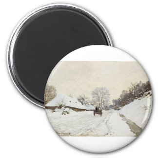 A Cart on the Snowy Road at Honfleur (1865) 6 Cm Round Magnet