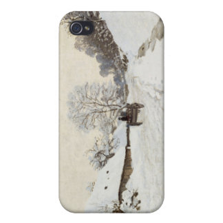 A Cart on the Snowy Road at Honfleur, Claude Monet iPhone 4 Cover