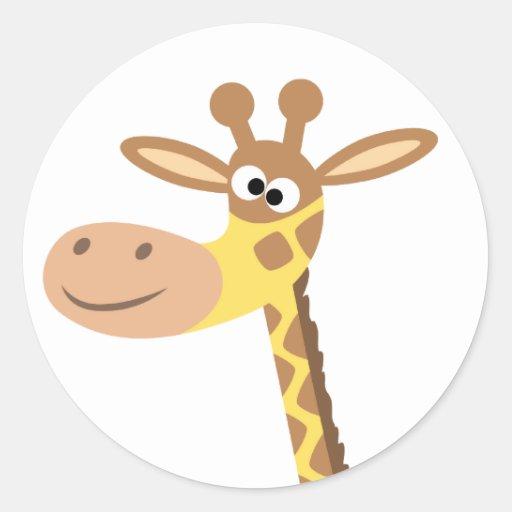 A cartoon giraffe round sticker