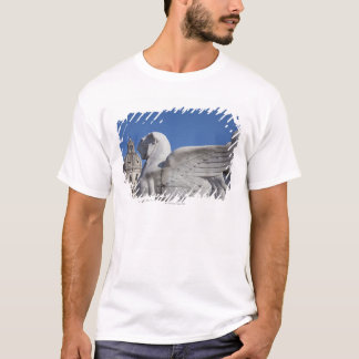 A carved winged lion at the front of the Victor T-Shirt