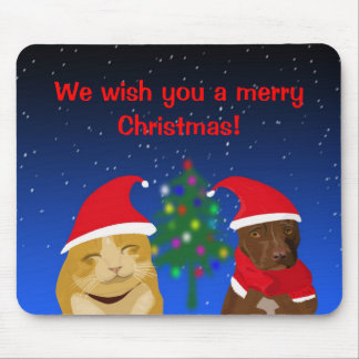 A cat and a dog Xmas greeting with a tree Mouse Pad