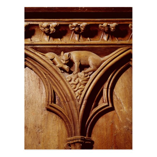 A cat and mouse, from a choir stall postcard