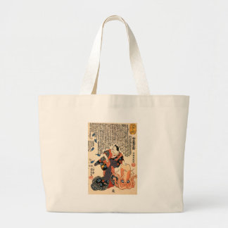 A cat dressed as a woman tapping the head jumbo tote bag