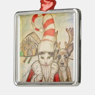 A Cat in a Santa Hat Christmas Ornament