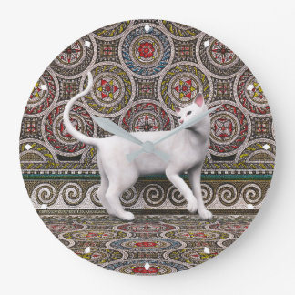 A cat on the mosaic large clock