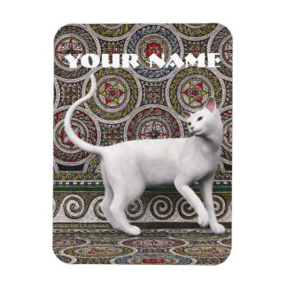 A cat on the mosaic rectangular photo magnet
