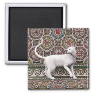 A cat on the mosaic square magnet