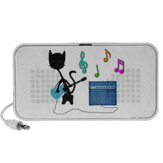 A Cat Playes Heave Metal On His Blue Guitar Notebook Speakers