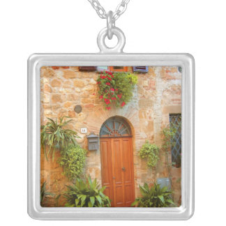 A cat seeks entrance to home in Pienza, Italy. Silver Plated Necklace