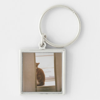 A Cat Sitting Behind The Curtains On A Window Silver-Colored Square Key Ring