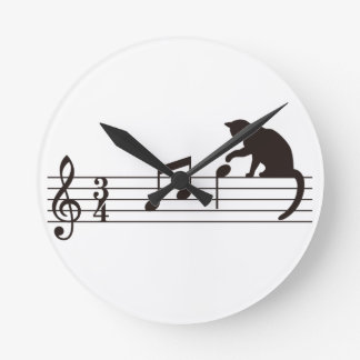 A Cat Toying with Notes Wallclock