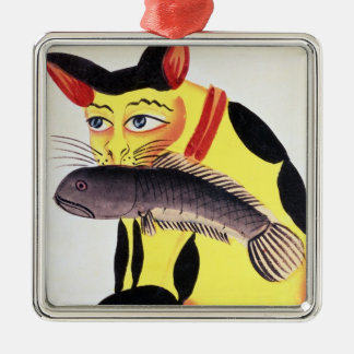 A cat with a fish in its mouth, from the Rudyard K Christmas Ornament