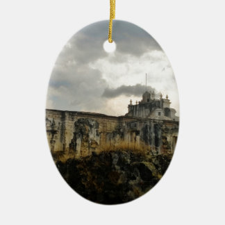 A cathedral in ruins (Guatemala) Ceramic Oval Decoration