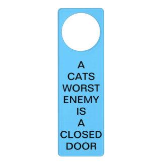 A Cats Worst Enemy Is a Closed Door Blue Hanger Door Knob Hangers