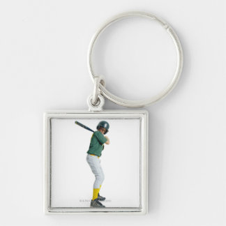 a caucasian male child dressed as a baseball Silver-Colored square key ring