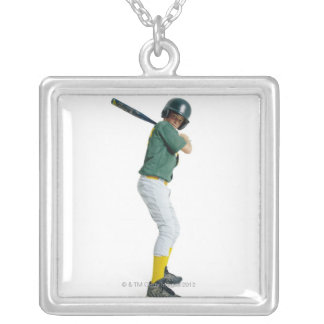 a caucasian male child dressed as a baseball silver plated necklace