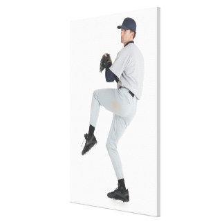 a caucasian man wearing a white baseball uniform stretched canvas prints