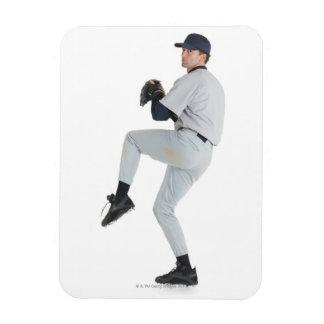 a caucasian man wearing a white baseball uniform rectangular photo magnet