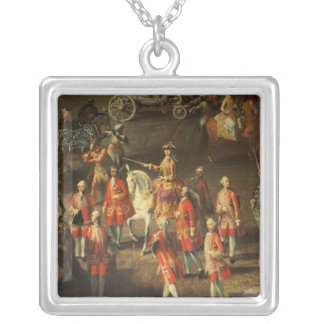A Cavalcade in the Winter Riding School Silver Plated Necklace
