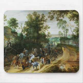 A Cavalry Column Ambushed on a Woodland path Mouse Pad