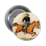 A Cavalry Officer by Remington, Vintage Military 6 Cm Round Badge