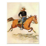 A Cavalry Officer by Remington, Vintage Military 11 Cm X 14 Cm Invitation Card