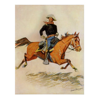 A Cavalry Officer by Remington, Vintage Military Posters