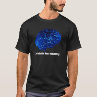 a  Celebrate Neurodiversity Blue Brain T-shirt