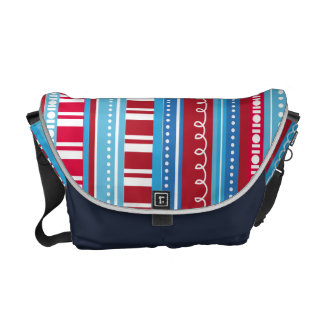A Celebration of Funky Stripes Red White Blue Messenger Bags