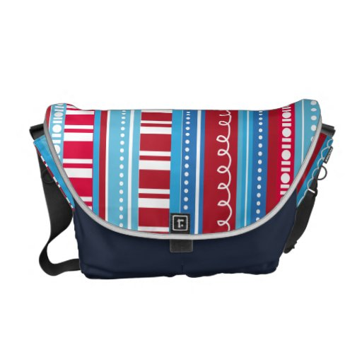A Celebration of Funky Stripes Red White Blue Commuter Bag