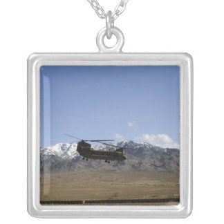 A CH-47 Chinook takes off Silver Plated Necklace