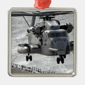 A CH-53E Super Stallion helicopter Silver-Colored Square Decoration