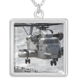 A CH-53E Super Stallion helicopter Silver Plated Necklace