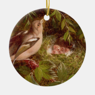 A Chaffinch at its Nest, 1877 (oil on panel) Christmas Ornament