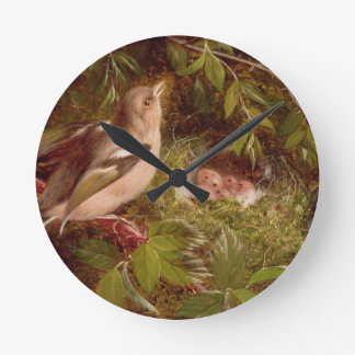 A Chaffinch at its Nest, 1877 (oil on panel) Round Clock