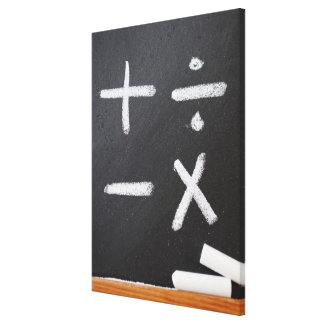 A chalkboard with mathematic symbols on it canvas print