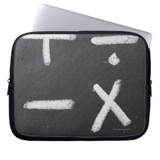 A chalkboard with mathematic symbols on it laptop sleeve